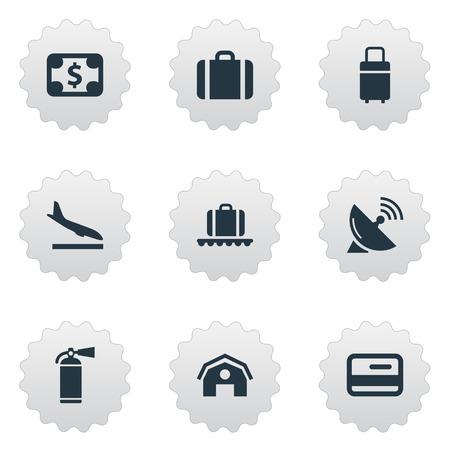 9 간단한 비행기 아이콘의 집합입니다. Currency, Protection Tool, Alighting Plane 및 Other와 같은 요소를 찾을 수 있습니다.