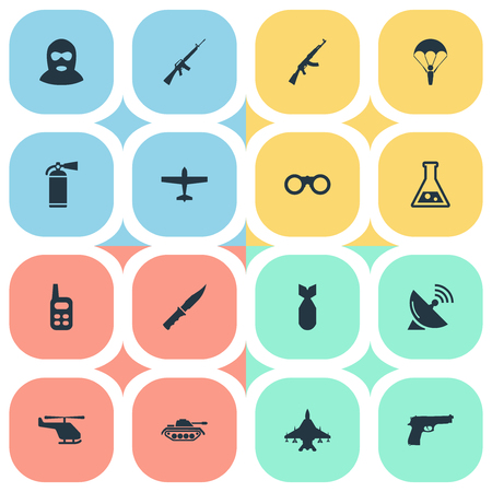 nuke: Set Of 16 Simple Military Icons. Can Be Found Such Elements As Helicopter, Pistol, Nuke And Other. Illustration