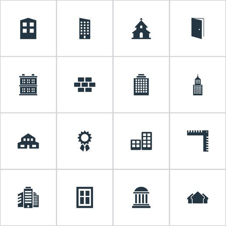 Set Of 16 Simple Construction Icons. Can Be Found Such Elements As Floor, Structure, Superstructure And Other. Illustration