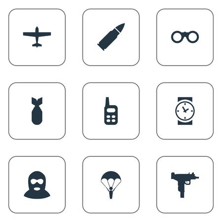 9 シンプルな軍事アイコンのセットです。弾薬、双眼鏡、Walkies およびその他などの要素を見つけることができます。