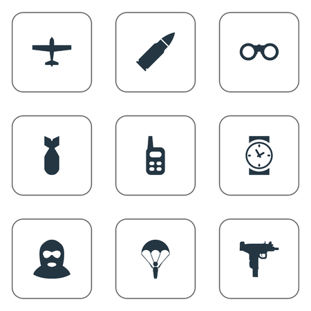 Set Of 9 Simple Military Icons. Can Be Found Such Elements As Ammunition, Field Glasses, Walkies And Other.