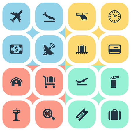 Set Of 16 Simple Travel Icons. Can Be Found Such Elements As Coupon, Baggage Cart, Garage And Other.