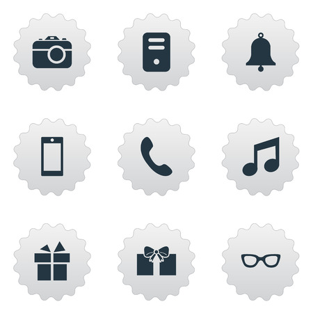 Set Of 9 Simple Instrument Icons. Can Be Found Such Elements As Digital Camera, Present, Eyeglasses And Other.