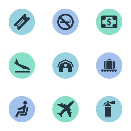 Set Of 9 Simple Transportation Icons. Can Be Found Such Elements As Plane, Alighting Plane, Seat And Other.