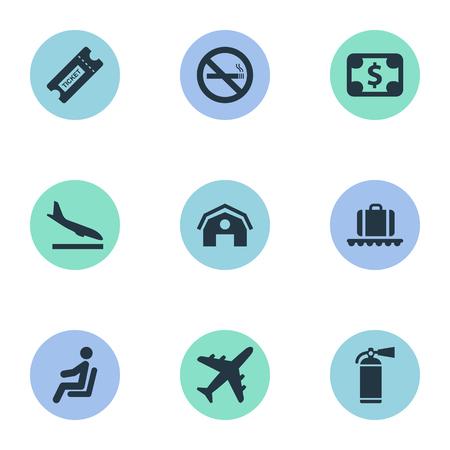 9 간단한 교통 아이콘의 집합입니다. 비행기, 비행기, 좌석 및 기타와 같은 요소를 찾을 수 있습니다.