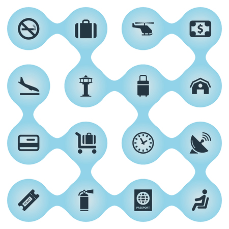 Set Of 16 Simple Plane Icons. Can Be Found Such Elements As Coupon, Antenna, Flight Control Tower And Other. Ilustração