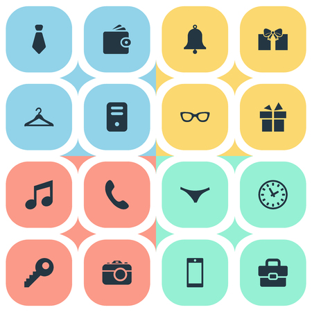 Set Of 16 Simple  Icons. Can Be Found Such Elements As Underwear, Business Bag, Eyeglasses And Other.