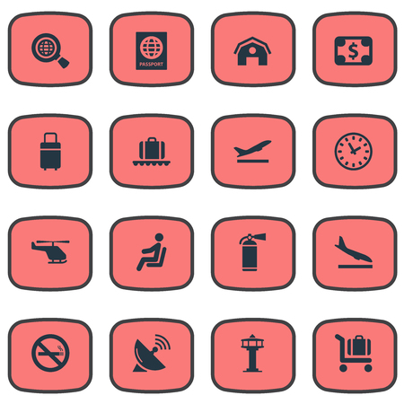 Set Of 16 Simple Airport Icons. Can Be Found Such Elements As Currency, Cigarette Forbidden, Alighting Plane And Other.