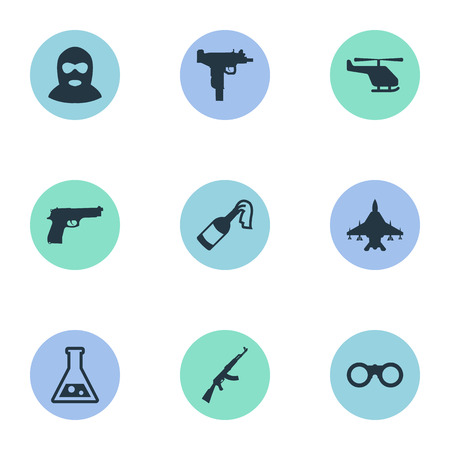 Set Of 9 Simple Military Icons. Can Be Found Such Elements As Helicopter, Chemistry And Other.