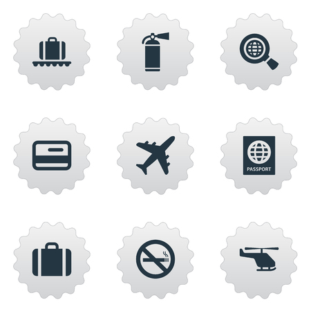 Set Of 9 Simple Airport Icons. Can Be Found Such Elements As Cigarette Forbidden, Handbag, Luggage Carousel.