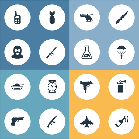nuke: Set Of 16 Simple Military Icons. Can Be Found Such Elements As Nuke, Chemistry, Paratrooper And Other.