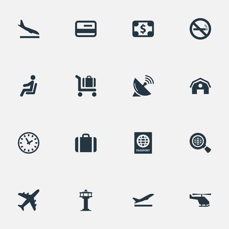 16 간단한 교통 아이콘의 집합입니다. 비행기, 좌석, 비행 제어 탑 및 기타와 같이 이러한 요소를 찾을 수 있습니다. 일러스트
