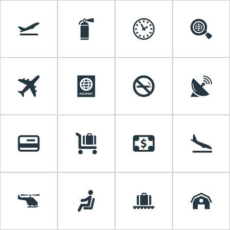 16 간단한 교통 아이콘의 집합입니다. 금지 된 담배, 수하물 회전 목마, 등판 평면 및 기타와 같은 요소를 찾을 수 있습니다.