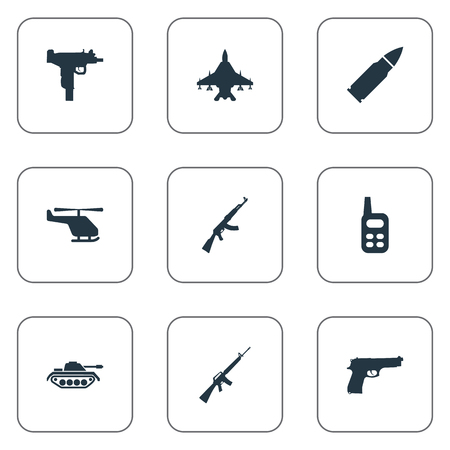 Set Of 9 Simple Terror Icons. Can Be Found Such Elements As Walkies, Pistol, Helicopter And Other. Illustration
