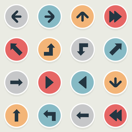Set Of 16 Simple Arrows Icons. Can Be Found Such Elements As Downwards Pointing, Left Direction, Left Direction And Other. Иллюстрация