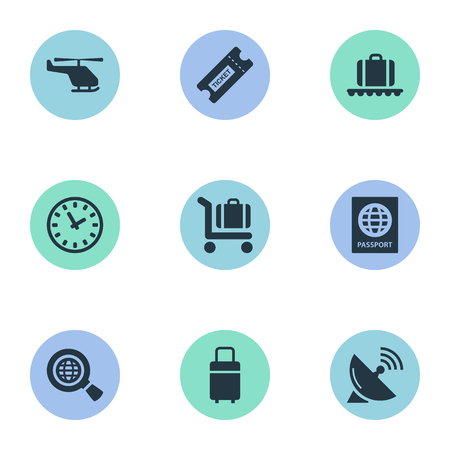 Set Of 9 Simple Transportation Icons. Can Be Found Such Elements As Baggage Cart, Air Transport, Watch And Other.