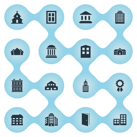 Set Of 16 Simple Construction Icons. Can Be Found Such Elements As Offices, Academy, Popish And Other. Illustration