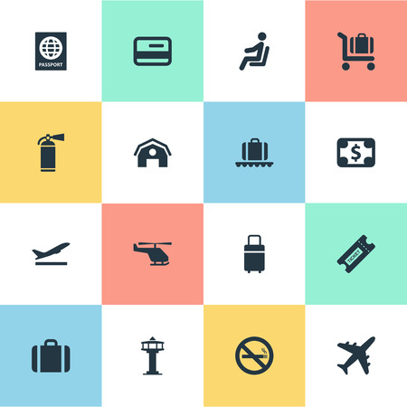 allowed to pass: Set Of 16 Simple Airport Icons. Can Be Found Such Elements As Protection Tool, Travel Bag, Seat And Other.