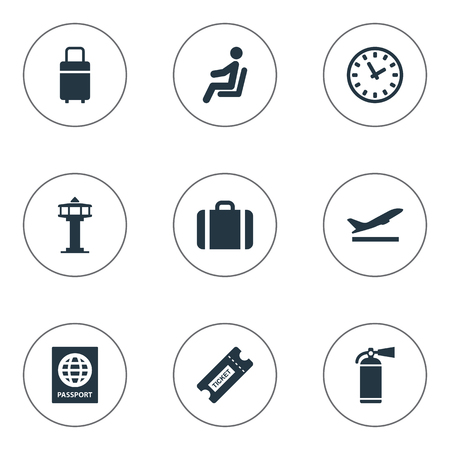Set Of 9 Simple Transportation Icons. Can Be Found Such Elements As Handbag, Coupon , Travel Bag.