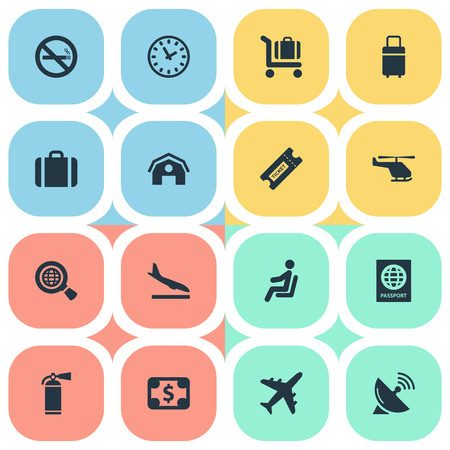 Set Of 16 Simple Plane Icons. Can Be Found Such Elements As Protection Tool, Currency, Watch And Other. Illustration