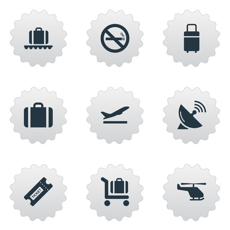 Set Of 9 Simple Airport Icons. Can Be Found Such Elements As Baggage Cart, Cigarette Forbidden, Air Transport And Other.