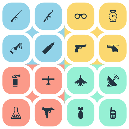 nuke: Set Of 16 Simple War Icons. Can Be Found Such Elements As Sky Force, Nuke, Air Bomber And Other.