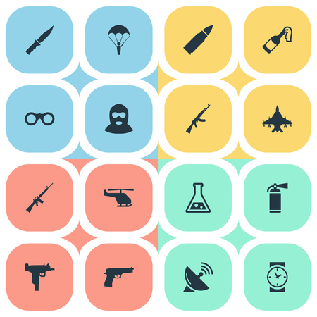 Set Of 16 Simple Terror Icons. Can Be Found Such Elements As Pistol, Firearm, Chemistry And Other.