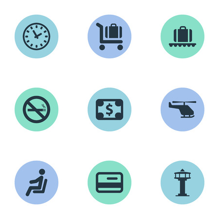 Set Of 9 Simple Travel Icons. Can Be Found Such Elements As Luggage Carousel, Credit Card, Seat And Other.