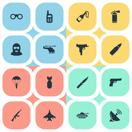 nuke: Set Of 16 Simple Terror Icons. Can Be Found Such Elements As Firearm, Extinguisher, Nuke And Other.