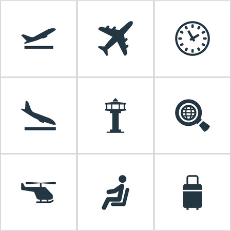 Set Of 9 Simple Plane Icons. Can Be Found Such Elements As Alighting Plane, Takeoff, Flight Control Tower And Other. 일러스트