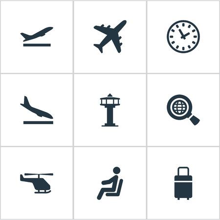 9 간단한 비행기 아이콘의 집합입니다. 비행기, 이륙, 비행 제어 탑 및 기타와 같은 요소를 찾을 수 있습니다. 일러스트