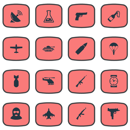 Set Of 16 Simple War Icons. Can Be Found Such Elements As Helicopter, Signal Receiver, Rifle Gun And Other.
