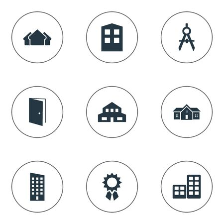 Set Of 9 Simple Structure Icons. Can Be Found Such Elements As Floor, Flat, Residential And Other.