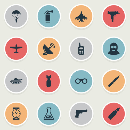 Set Of 16 Simple Battle Icons. Can Be Found Such Elements As Heavy Weapon, Watch, Signal Receiver And Other.