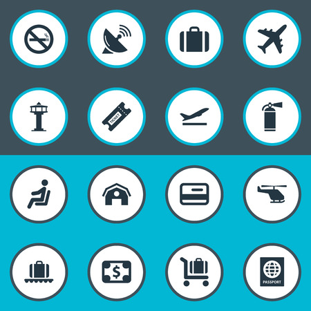 haul: Set Of 16 Simple Airport Icons. Can Be Found Such Elements As Luggage Carousel, Credit Card, Protection Tool And Other.