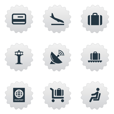 Set Of 9 Simple Travel Icons. Can Be Found Such Elements As Antenna, Flight Control Tower, Baggage Cart And Other.