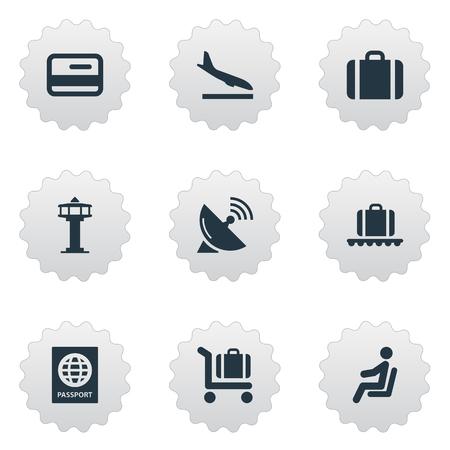 9 간단한 여행 아이콘의 집합입니다. 안테나, 비행 제어 탑, 수하물 카트 및 기타와 같은 요소를 찾을 수 있습니다.