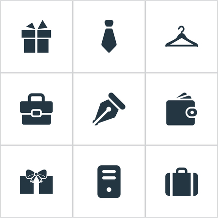 formal signature: Set Of 9 Simple Instrument Icons. Can Be Found Such Elements As Hanger, Ink Pencil, Business Bag And Other. Illustration
