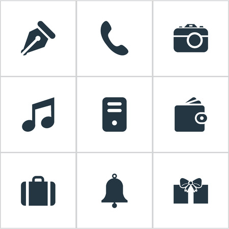 billfold: Set Of 9 Simple Instrument Icons. Can Be Found Such Elements As Gift, Call Button, Billfold And Other.