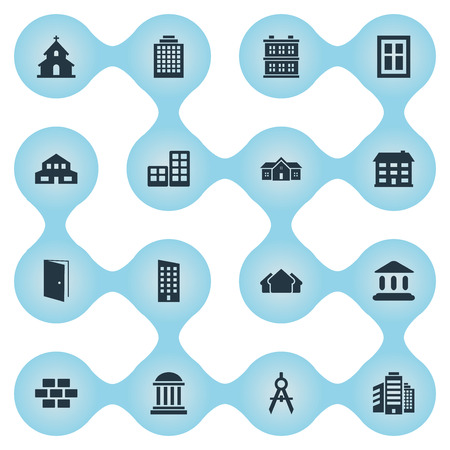 Set Of 16 Simple Structure Icons. Can Be Found Such Elements As Residence, Residential, Engineer Tool And Other.