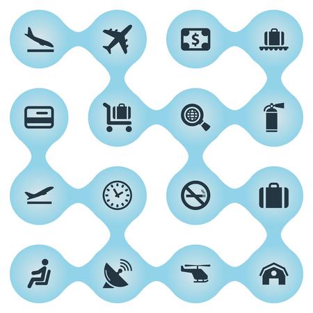 16 간단한 교통 아이콘의 집합입니다. 항공 운송, 좌석, 핸드백과 같은 요소를 찾을 수 있습니다.