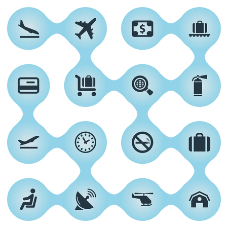Set Of 16 Simple Transportation Icons. Can Be Found Such Elements As Air Transport , Seat, Handbag. Illustration