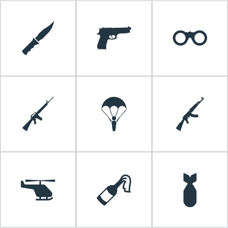 nuke: Set Of 9 Simple Battle Icons. Can Be Found Such Elements As Molotov, Field Glasses, Nuke And Other.
