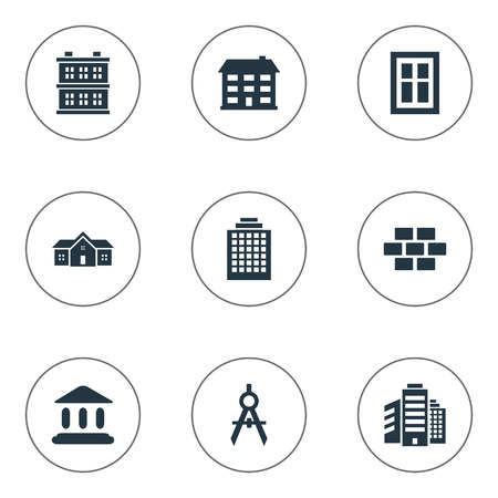 superstructure: Set Of 9 Simple Construction Icons. Can Be Found Such Elements As Offices, Residence, Superstructure And Other.