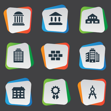 Set Of 9 Simple Structure Icons. Can Be Found Such Elements As Superstructure, Academy, Booth And Other.