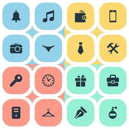 suspender: Set Of 16 Simple Instrument Icons. Can Be Found Such Elements As Hanger, Password, Ink Pencil And Other.
