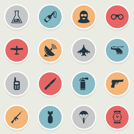 Set Of 16 Simple War Icons. Can Be Found Such Elements As Air Bomber, Signal Receiver, Molotov And Other.