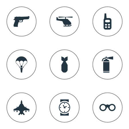 Set Of 9 Simple Terror Icons. Can Be Found Such Elements As Helicopter, Walkies, Extinguisher And Other. Illustration