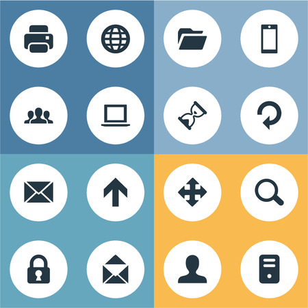 Set Of 16 Simple Application Icons. Can Be Found Such Elements As Dossier, Computer Case, Magnifier And Other. 向量圖像