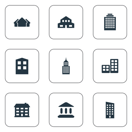 residency: Set Of 9 Simple Architecture Icons. Can Be Found Such Elements As Floor, Structure, Construction And Other. Illustration